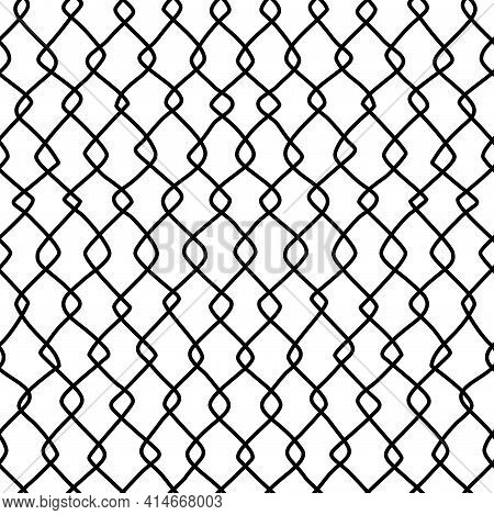 Twisted Freehand Lines Black And White Seamless Pattern