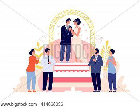 Wedding Ceremony. Couple Celebrate Marriage, Groom Bride Romantic Party. People Celebration With Fri