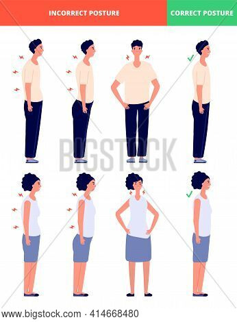 Correct Incorrect Postures. What We Stand, Posture Alignment For Man Woman. Good Standing Poses For