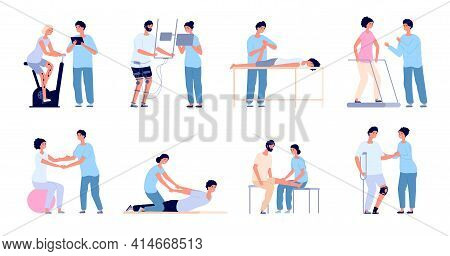 Medical Rehabilitation. Flat Rehab People Collection, Clinic Of Physiotherapy Exercise. Disability P