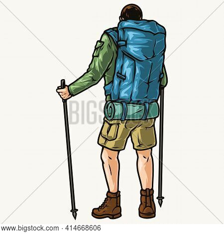 Colorful Vintage Concept Of Tourist Man With Trekking Poles Backpack And Sleeping Bag Isolated Vecto