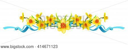 Holiday Floral Borders Set With Daffodils, Cross And Eggs. Design Elements For Decorate Card, Banner