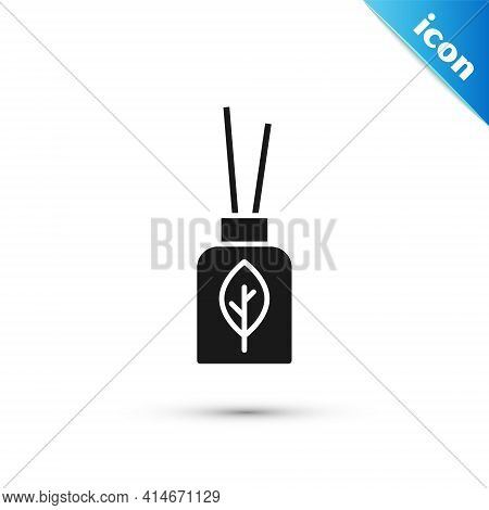 Grey Aroma Diffuser Icon Isolated On White Background. Glass Jar Different With Wooden Aroma Sticks.