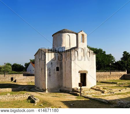Church Of Holy Cross In Town Nin, North Dalmatia In Croatia