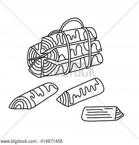 Bundle Of Firewood And Logs. Hand Drawn Vector Illustration In Doodle Style On White Background. Iso