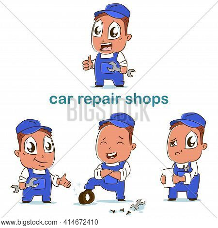 Car Repair Shop Vector Set Of Auto Car Mechanics In Different Poses. Cartoon Character Of Workman Fo