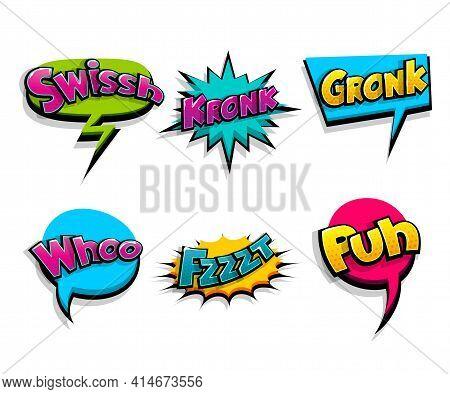 Lettering . Comic Text Logo Sound Effects. Vector Bubble Icon Speech Phrase, Cartoon Font Label, Sou