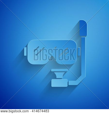 Paper Cut Diving Mask And Snorkel Icon Isolated On Blue Background. Extreme Sport. Diving Underwater