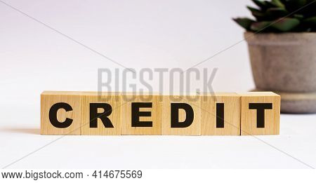 The Word Impact On Wooden Cubes On A Light Background Near A Flower In A Pot. Defocus