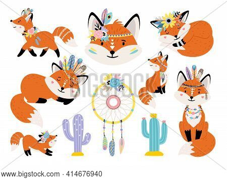 Foxes And Dreamcatcher. Cartoon Forest Animals With Indian Decorations On Heads, Vector Illustration