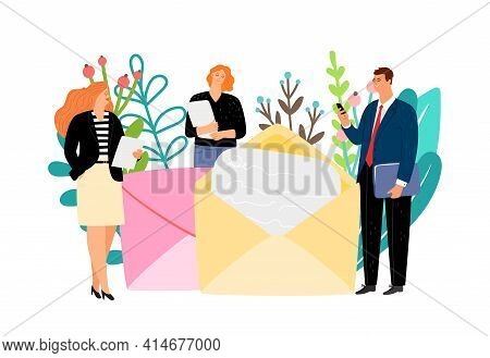 Message Concept. Business People Send Letters. Receiving Letter, Man Woman And Mail. Postcrossing, R