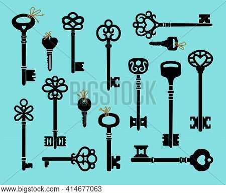 Antique Keys. Cartoon Decorative Elements For Opening Doors, Icons Of Medieval Objects For Access Of