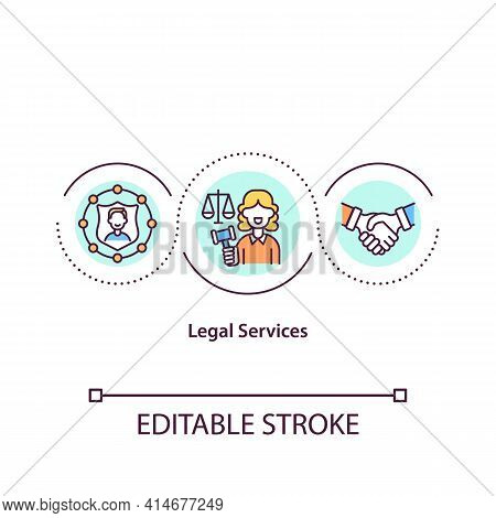 Legal Services Concept Icon. Protection And Right. Courthouse Defense. Attorney Support. Legislation