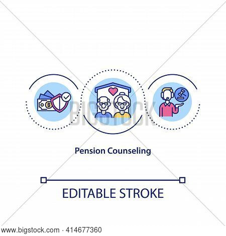 Pension Counseling Concept Icon. Retirement Planning. Notary Aid For Seniors. Legal Services Idea Th