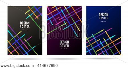 Poster Or Web Banner Template Background With Laser Bright Straight Lines Shooting From The Edges Of