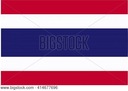 Thai Flag Of Thailand, Asia - Isolated Illustration