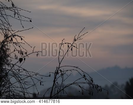 View Of The Countryside Landscape - Hills In The Mist At Dawn
