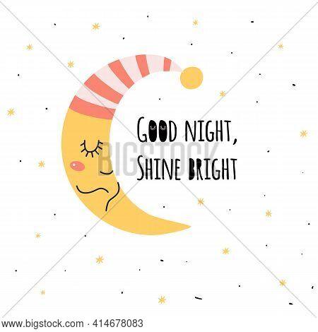 Baby Sleepy Moon. Cute Sleeping Moon. Kids Sweet Dreams Print. Crescent Isolated Graphic Element. Ba