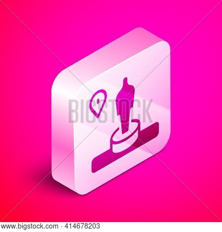 Isometric Map Pin And Monument Icon Isolated On Pink Background. Navigation, Pointer, Location, Map,