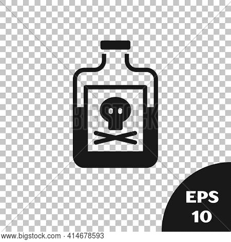 Black Poison In Bottle Icon Isolated On Transparent Background. Bottle Of Poison Or Poisonous Chemic