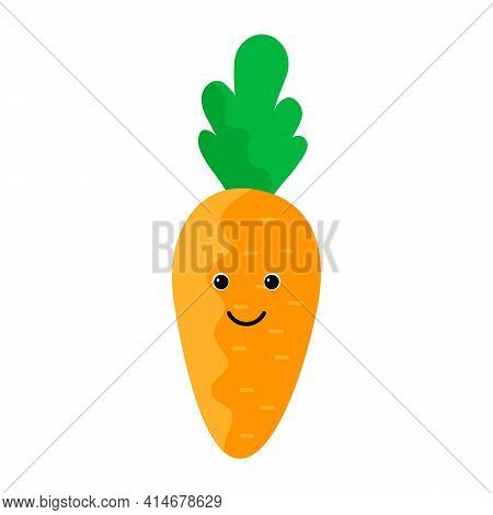 Cute Carrot Character With Face. Kawaii Doodle Carrot Isolated On White Background. Vector Illustrat