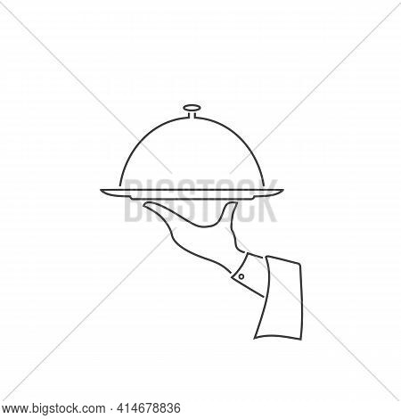 Covered Plate Line Icon. Vector Illustration In Flat