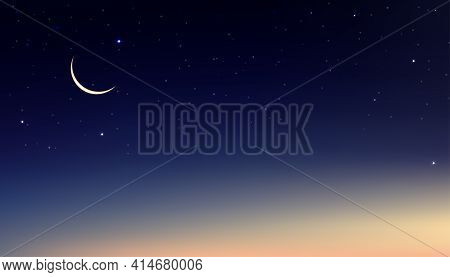 Night Sky With Crescent Moon And Stars Shining, Landscape Dramatic Dark Blue, Purple And Orangesky,