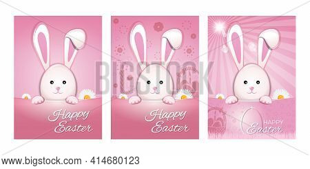 Set Of Easter Cards With Cute Easter Bunny On Festive Pink Background. Easter Design. Happy Easter.