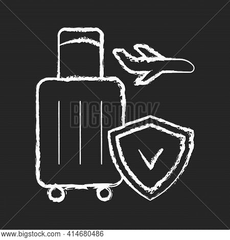 Travel Insurance Chalk White Icon On Black Background. Covering Traveling Costs And Losses. Reimburs