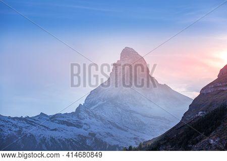 Matterhorn Mountain Snow Peak, Swiss Alps, Zermatt, Switzerland At Sunset