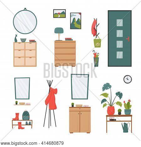 Set Of Hallway Or Lobby Interior Elements. Shoe Storage Bench, Chest Of Drawers, Coat Hanger, Umbrel