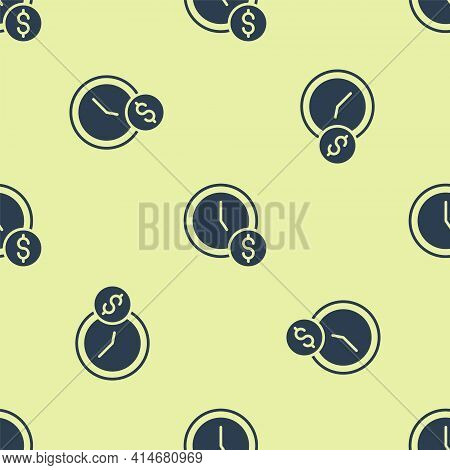 Blue Time Is Money Icon Isolated Seamless Pattern On Yellow Background. Money Is Time. Effective Tim