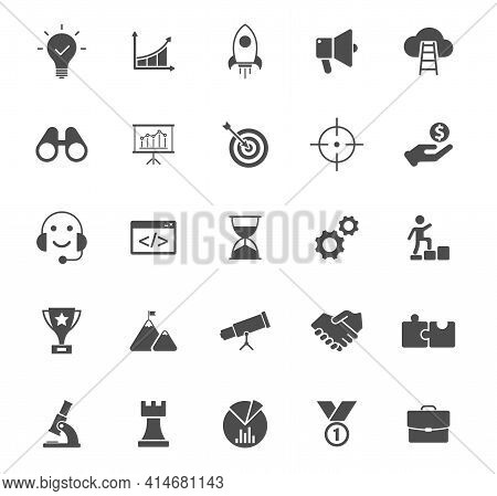 Startup Silhouette Vector Icons Isolated On White. Startup Grey Icon Set For Web, Mobile Apps, Ui De