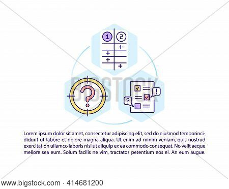 Problem Evaluation Concept Line Icons With Text. Ppt Page Vector Template With Copy Space. Brochure,