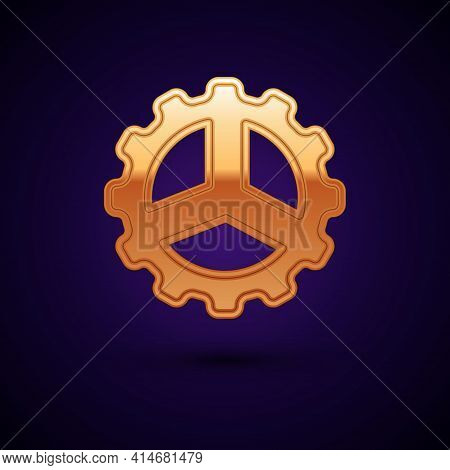 Gold Bicycle Sprocket Crank Icon Isolated On Black Background. Vector
