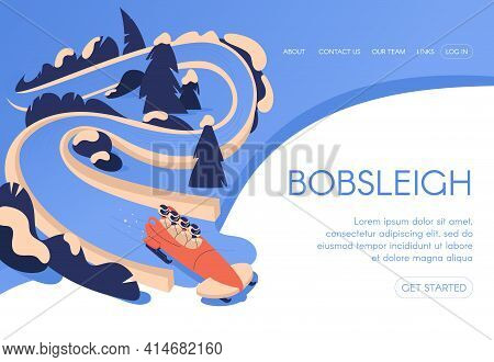 Bobsleigh Landing Page Template Concept Drawn In Blue Color With Snowy Trees Landscape And People Te