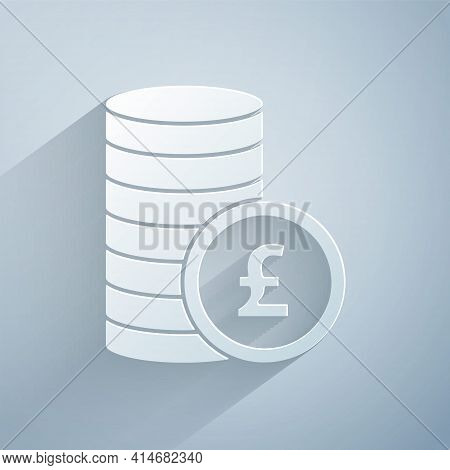 Paper Cut Coin Money With Pound Sterling Symbol Icon Isolated On Grey Background. Banking Currency S