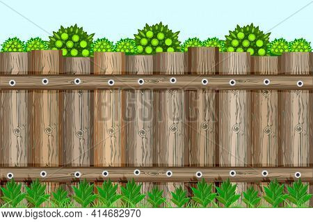 Nature Background With Green Trees, Grass And Countryside Brown Wooden Fence. Garden Fencing, Summer