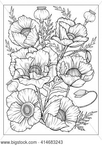 Coloring Page With Poppies And Leaves. Vector Page For Coloring. Flower Colouring Page. Floral Print