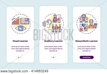 Learning Styles Onboarding Mobile App Page Screen With Concepts. Education, Studying Strategy Walkth