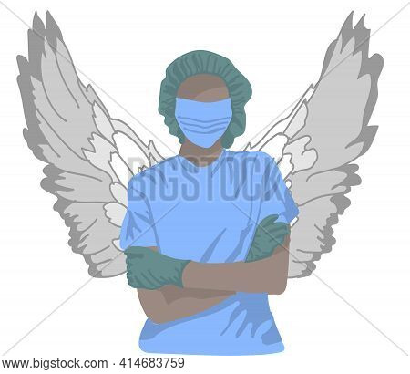 Female Surgeon With Wings In A Protective Mask And Gloves.