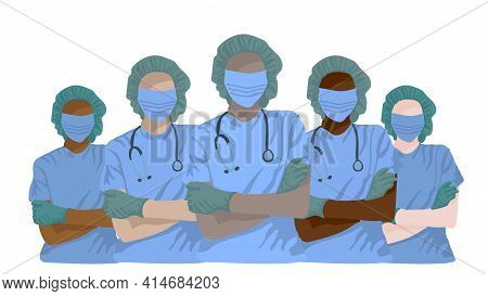 Multinational Doctors In Medical Face Mask. Medical Team Nurse Therapist Surgeon Professional Hospit