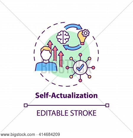 Self Actualization Concept Icon. Realizing Personal Potential. Self Development And Self Fulfilment