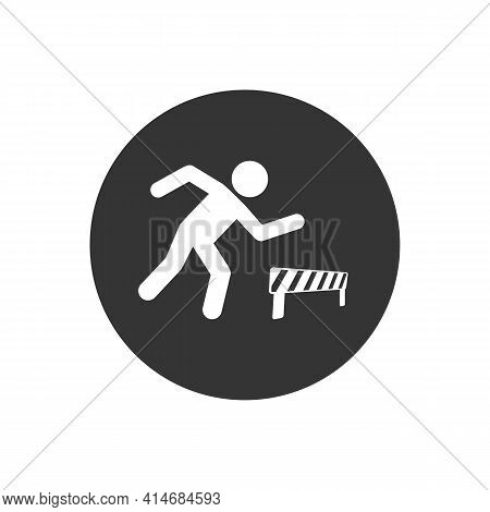 Athlete Running Hurdles Vector White Icon In Flat