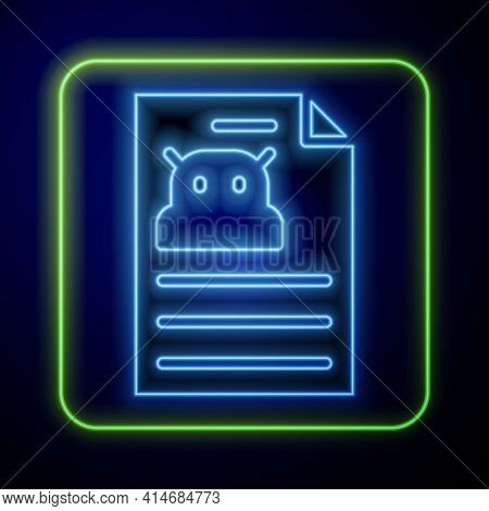 Glowing Neon Technical Specification Icon Isolated On Blue Background. Technical Support Check List,