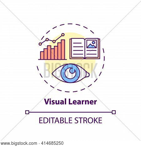 Visual Learner Concept Icon. Learning Method With Pictures. Self Development, Studying Strategy Idea