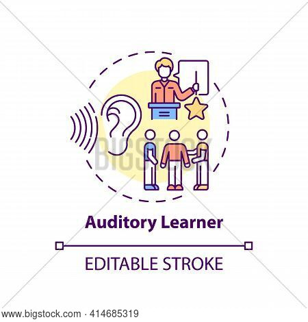 Auditory Learner Concept Icon. Learning By Sound. Hearing Information. Self Development And Studying
