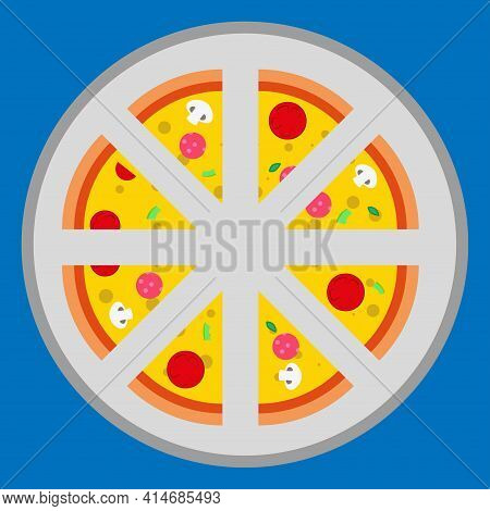 Pizza On A Tray. Slice Of Pizza, Vegetarian Slice. Food Menu Illustration Isolated. Vector Pizza .ve