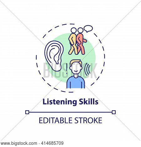 Listening Skills Concept Icon. Ability To Communicate. Contact With People. Social Skills. Self Deve