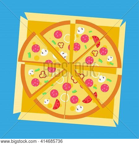 Pizza In A Paper Box. Slice Of Pizza, Vegetarian Slice. Food Menu Illustration Isolated. Vector Pizz